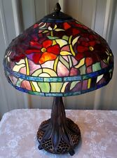 TIFFANY STYLE STAINED GLASS FLORAL RED PEONY LAMP GOLDEN LILY BASE