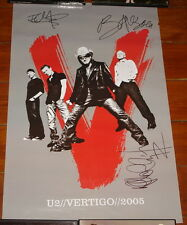 U2 SIGNED VERTIGO CONCERT POSTER 2005 BONO EDGE ADAM UACC REGISTERED DEALER