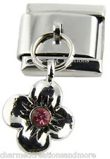 Petunia Flower Pink Crystal 9mm Italian Charm Stainless Modular Dangle Link