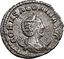 Salonina clasping hands with Gallienus Silver Rare Ancient Roman Coin i55730