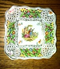 """Vintage Dresden China Nut Dish Square Open Work Sides Center Victorian Tryst 6"""""""