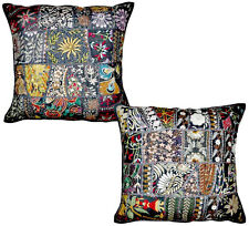 2pc Black Indian Patchwork Pillow Cover, Bohemian Pillow, Indian Cushion Covers