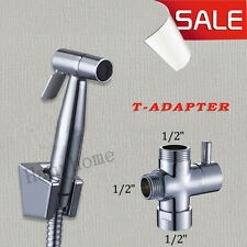"Stainless Steel Shattaf Bidet Sprayer Douche kit +G1/2""Brass T-Adapter"