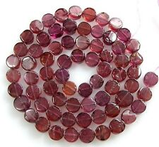 "NATURAL GEMSTONE PINK RED RHODORITE GARNET SMOOTH COIN BEADS 14""  Z47"