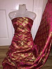 """5 MTR ORIENTAL CHINESE  HOT PINK/GOLD SILKY BROCADE FABRIC....58"""" WIDE £29.99"""