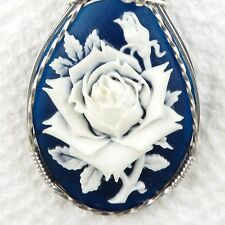 Navy Blue White Rose Cameo Pendant .925 Sterling Silver Jewelry Resin