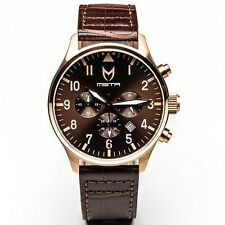 $265.00 Meister Limited Edition Aviator Watch gold rose gold brown leather AV113