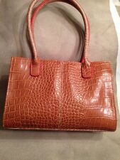 LIZ CLAIRBORNE- BROWN FAUX LEATHER WITH TANGERINE LINING-SMALL