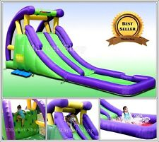 Double Water Slide Pool Bounce House Inflatable Bouncer Jumper Splash w/ Blower