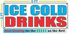 ICE COLD DRINKS Banner Sign NEW Larger Size Best Quality for The $$$ Fair Food