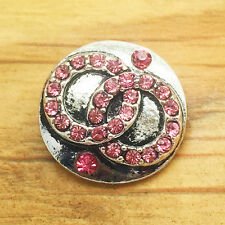New Pink Rhinestone Drill Charm Chunk Snap Button fit for Noosa Bracelet BE22