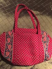 VERA BRADLEY Red Americana Boho Paisley Large Weekend Duffle Travel Shoulder Bag