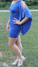 Gorgeous Jeweled Blue fitted short formal Prom/Homecoming dress sz S   L@@K!