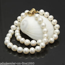 """2 Rows 8-9mm White Cultured Freshwater Pearl Bangle Bracelet 7.5"""" AAA+"""