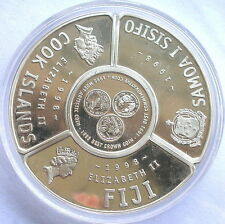 Fiji Cook Samoa 1998 Ring 2 Dollars 5oz Silver Coins,Proof
