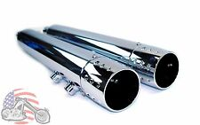 Rush 3.5 Chrome Exhaust Pipes Slip-on Mufflers Dimpled Tips 95-16 Harley Touring