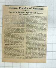 1940 German Plunder Of Denmark, Fate Of Famous Agricultural System