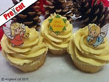 PRE-CUT MERRY CHRISTMAS ANGELS EDIBLE WAFER PAPER CUP CAKE TOPPER DECORATIONS
