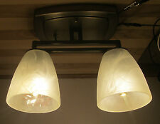 2 Arm Nickel 12 VOLT LED RV Trailer White Alabaster Ceiling Dinette Light Lamp