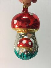 Vintage Colombia Mercury Glass Christmas Ornament ~ Mushroom ~ Red & Spotted