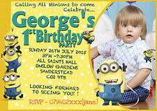 Personalised boy Birthday Party Invitations  Minion (with photo)  4cards Pack