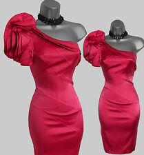 KAREN MILLEN Coral Pink Silk One Shoulder Ruffle Glam Cocktail Pencil Dress sz10