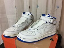 Nike Air Force 1 MID Style 624039 116 (D-Town) WHITE/WHITE-RYL BLUE SIZE 11 NWB