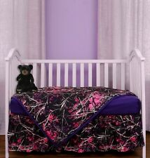 NEW 3PC MUDDY GIRL CAMO CAMOUFLAGE PINK PURPLE BABY CRIB SET SHEET SKIRT BLANKET
