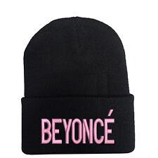 PINK BEYONCE Black Beanie Hat