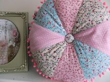 "Round Floral 100% Cotton Shabby Chic Country Cushion 16"" dia HANDMADE"