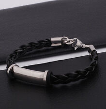 "Unisex Men Women's Stainless Steel Rubber Silicone Bracelet Black 8"" G24"