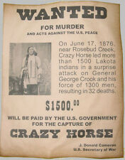 Crazy Horse Wanted Poster, Western, Old West, Indian, Lakota
