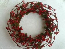 "One 4"" Pip Berry Candle Ring or Wreath - RED  Pips, Crafts, Primitive, Christmas"