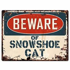 PP1572 Beware of SNOWSHOE CAT Plate Rustic Chic Sign Home Room Store Decor Gift