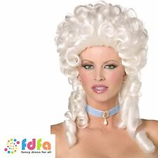 WHITE VICTORIAN MARIE ANTOINETTE BAROQUE WIG RINGLETS womens ladies fancy dress