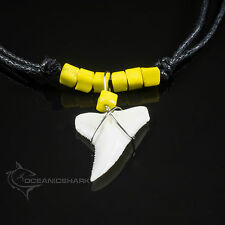 SHARK TOOTH TEETH JAW JAWS PENDANT PIXEL CUBE CUBIC YELLOW GLASS BEADS RETRO C19