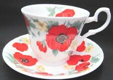 Roy Kirkham Fine English Bone China Tea Cup & Saucer Set  MONET POPPIES