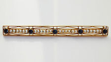 Stunning Antique Edwardian (14K Gold) 14ct Gold Sapphire & Pearl Brooch c1910