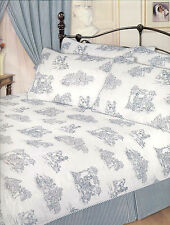 SUPER KING SIZE TOILLE BLUE TRADITIONAL ELEGANT DUVET COVER SET TEAL WHITE