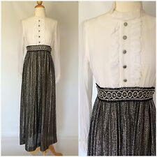 Vintage 60s 70s Maxi Dress White Black Silver Metallic Sheer Sleeves Mod Evening