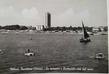 Cartolina Milano Marittima Cervia La spiaggia e Grattacielo mare VIAGGIATA