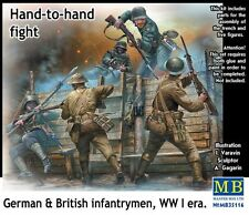 WW I BRITISH & GERMAN INFANTRY (W/WEAPONS & TRENCHES) /H2H FIGHT/ 1/35 MASTERBOX