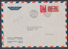Switzerland Sc 3O75, 3O80 on 1955 ILO Geneva cover to UN Secretary General, NY