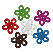 6 Wood Large Flower Design Sewing Buttons 44 x 42mm  Embellishment Crafts
