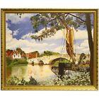 Framed Original Mid Century Landscape Oil Painting River Medway Aylesford Kent