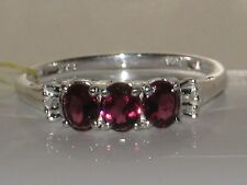 LOVELY RHODOLITE GARNET & DIAMOND ACCENT RING  .925 STERLING SILVER  SIZE 9