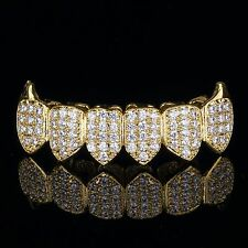 18K Gold Plated High Quality CZ Bottom Row Fang GRILLZ Mouth Teeth Grills