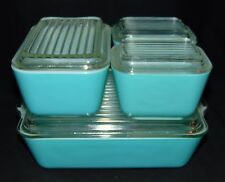 Pyrex TURQUOISE BLUE *8PC REFRIGERATOR SET* STYLE 1 LIDS*