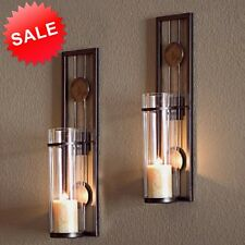 Candle Wall Sconce Holder Metal Glass Pair Decor Vintage Contemporary Art Home