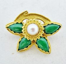 "1.125"" Chinese 22K Yellow Gold Pearl & Green JADEITE Jade Brooch  (6.9 grams)"
